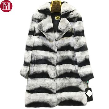 2017 New Genuine Real Rex Fur Coat Women Long Style Thick Warm Winter 100% Real Rex Rabbit Fur Overcoat Natural Real Fur Jacket
