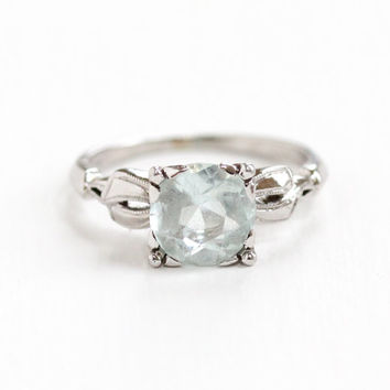 Antique 14k White Gold Art Deco 2 Carat Aquamarine Ring - Vintage Size 5.5 Bow Shoulders 1930s 1940s Blue Gemstone Fine Engagement Jewelry