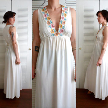 Cream Low Cut Floral Deep V Neck 70's Maxi Dress Semi Sheer Nightgown