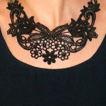 Black lace necklace statement necklace chain and lace necklace floral lace bib collar necklace evening -Beauty Of The Night Necklace