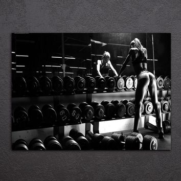 Canvas Art Inspirational Bodybuilding Equipment Fitness Printed Wall Art Home Decor