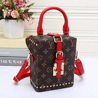 LV Women Leather Square Backpack Bookbag Daypack Satchel
