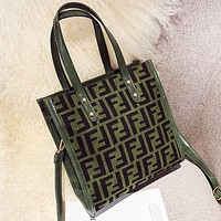 Fendi Fashion New More Letter Leather Women Shopping Shoulder Bag Handbag Green