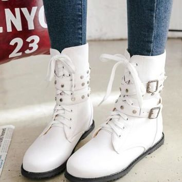 New White Round Toe Flat Rivet Buckle Cross Strap Fashion Ankle Boots