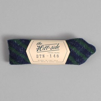 Diamond-Quilted Stripe Bow Tie, Navy / Green