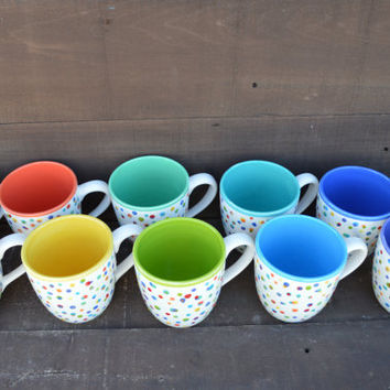 Awesome Dots Large Ceramic Rainbow Coffee Mug - 16 oz. - OOAK Hand Painted Mug