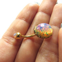 Pink Opal Gold Plated Belly Button Jewelry Stud Ring- Navel Piercing Bar Barbell Bellyring Azeetadesigns