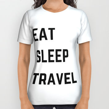 EAT SLEEP TRAVEL All Over Print Shirt by Love from Sophie
