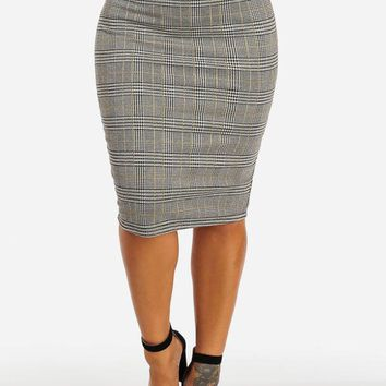 High Waisted Yellow Plaid Pencil Midi Skirt