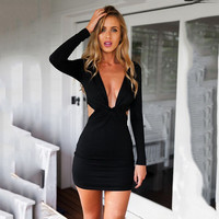 Women's Fashion Sexy Slim Knit Ladies One Piece Dress [4966215620]