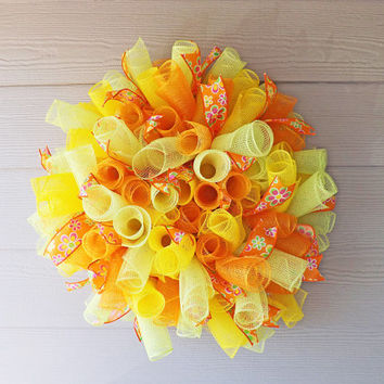 Summer Orange Green and Yellow Spiral Deco Mesh Wreath
