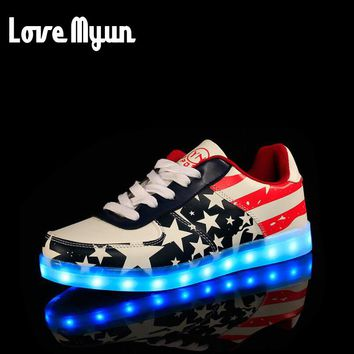 Brand women USB rechargeable light sneakers women lantern Hip hop sneakers Bule RED 7 Colors luminous shoes LED glow shoe  FF-12