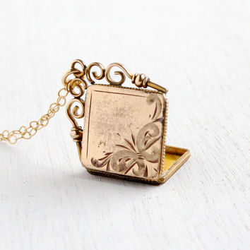 Antique Victorian Locket Necklace - Vintage Edwardian Gold Filled Square Fob Locket Jewelry Scrolling Bail / Embossed Front