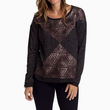 Charcoal-Heathered-Purple-Mesh-Accent-Sweater-Top