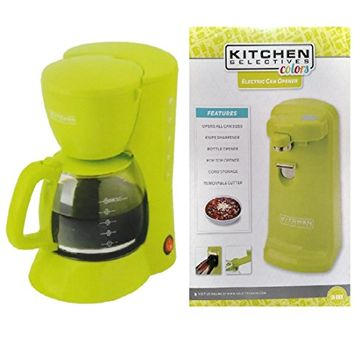 Kitchen Selectives Electric Can Opener, and Kitchen Selectives 5 Cup Coffee Maker Lime Green