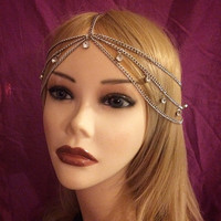 Flapper 1920s Silver Goddess Gatsby Headchain Grecian 1920's head chain headpiece piece 20's headband band Crystal Rhinestone Drape Art Deco