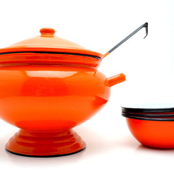 Vintage Orange Soup Tureen with Ladle and 4 Matching Bowls, Enamelware w/Black Rims, Halloween or Fall Entertaining, c1960s