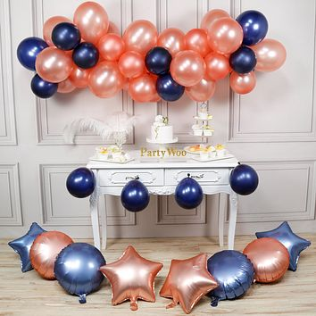 PartyWoo Rose Gold and Navy Balloons, 58 pcs Rose Gold Balloons, Navy Blue Balloons, Star Foil Balloons, Round Foil Balloons for Navy and Rose Gold Wedding Decorations, Navy and Rose Gold Christening