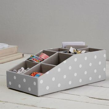 Eight Compartment Fabric Organizer, Gray Dottie
