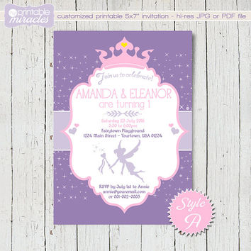 Fairy printable invitation, twin girls 1st birthday invitation, fairy princess sibling party, pink & purple glitter invitation, twins invite