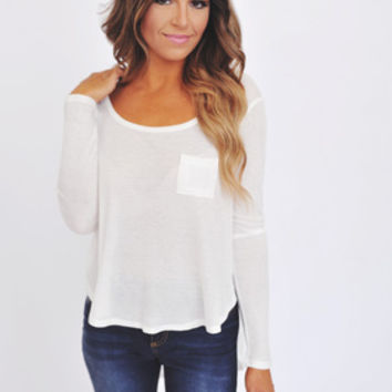 Ribbed High-Low Long Sleeve- Ivory