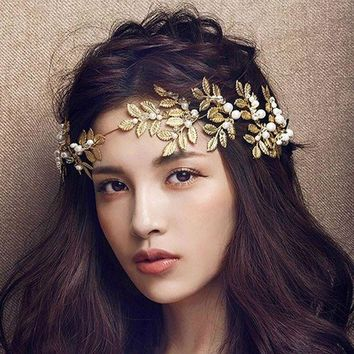 LMFXF7 Golden metal leaf olive branch hair headband and hairpin