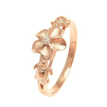 PINK ROSE GOLD PLATED SILVER 925 HAWAIIAN PLUMERIA FLOWER HONU TURTLE RING CZ
