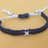 Blue & White Awareness Macrame Bracelet-Friendship-ALS-Alzheimer-Cancer-Epilepsy-Huntingtons Disease