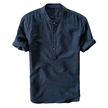 2019 New Summer Brand Shirt Men Short Sleeve Loose Thin Cotton Linen Shirt Male Fashion Solid Color Trend O-Neck Tees Tops Navy