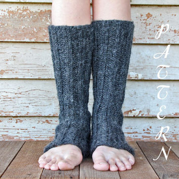 Women's Leg Warmers Knitting Pattern - Ribbed and Slouchy - 100% Baby Alpaca