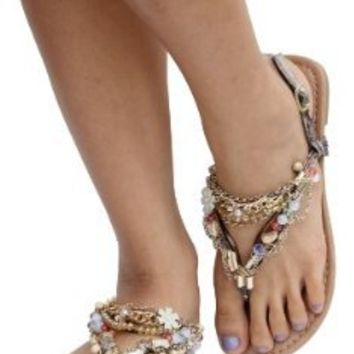 Amazon.com: Taupe Multi Chain Link Thong Ankle Strap Flat Sandals Delroy: Shoes