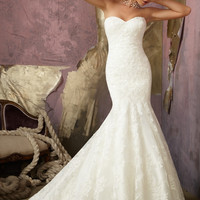 Mori Lee 1862 Strapless Lace Mermaid Wedding Dress