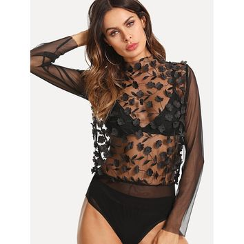 3D Applique Embroidered Sheer Mesh Bodysuit Without Bra
