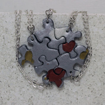 Puzzle Pieces Necklace Set of 5 Multi Metallic Mix Hearts Best Friend Pendants Polymer Clay