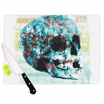 "Frederic Levy-Hadida ""Floral Skully 2 "" Coral Teal Cutting Board"
