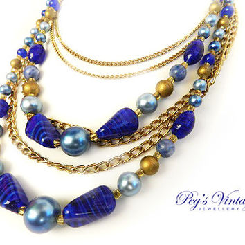 Beautiful Multi Strand Lapis Necklace//Gold Tone, Cobalt Blue Lapis Art Glass Bead Vintage Necklace
