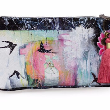 Swallows Small Tassel Pouch