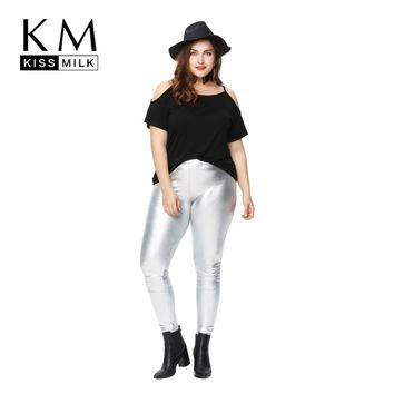 Kissmilk 2018 Women Plus Size Solid Open Cold Shoulder T-shirt Big Size Oversize Loose Cotton Tops Short Sleeves Tees  6XL
