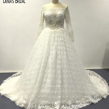 2017 Ball Gown Elegant Lace Wedding Dresses with Beaded Sheer Scoop Neckline Floor Length Chapel Train Bridal Gowns