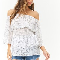 Sheer Polka Dot Off-the-Shoulder Smocked Top