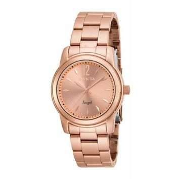 Invicta Women's 17421 Angel Quartz 3 Hand Rose Gold Dial Watch