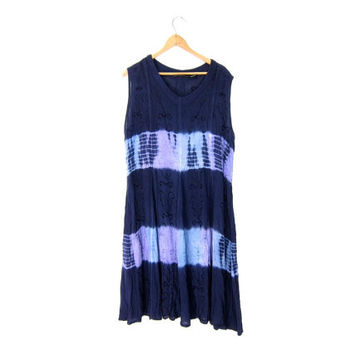 Tie Dye Boho Midi Dress 90s Tribal Sundress Embroidered Purple Vintage Festival Sun Dress Hippie Ethnic Rayon Slip Dress DELLS Womens XL