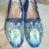 Handpainted Custom Toms Shoes Peacocks by FancyToms on Etsy