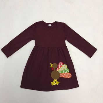 New Design Children Clothing Dress Thanksgiving Holiday Gobble Costume Turkey Embroidery Fashion Girls Outfits T006