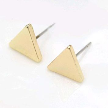 black gold silver 3 color western triangle round flash stud earrings for women gifts jewelry