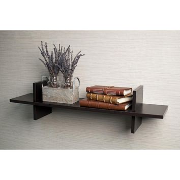 "Decorative Espresso ""H"" Shaped Wall Shelf By DanayB"