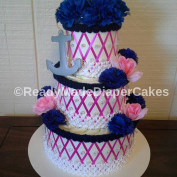 Hot Pink and Navy Blue Nautical Whale Its a Girl Themed Baby Shower Decor Elegant 3 Tier Beaded Diaper Cake Table Centerpiece Baby Girl Gift