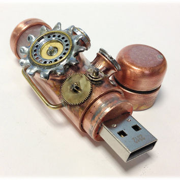 Steampunk 32GB USB Flash Drive Model 705 in a Tin Box