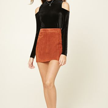 Velour Open-Shoulder Top