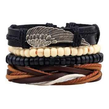 Men's Braided Leather Winged Stainless Steel Cuff Bangle Bracelet Wristband